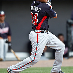 March 4, 2011; Viera, FL, USA; Atlanta Braves shortstop Diory Hernandez (24) during a spring training exhibition game against the Washington Nationals at Space Coast Stadium.  Mandatory Credit: Derick E. Hingle
