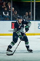 KELOWNA, BC - JANUARY 24: Simon Kubicek #2 of the Seattle Thunderbirds passes the puck during first period against the Kelowna Rockets at Prospera Place on January 24, 2020 in Kelowna, Canada. (Photo by Marissa Baecker/Shoot the Breeze)