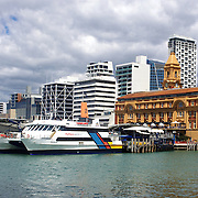 The Ferry Terminal on Auckland Harbour, showing the City in the background. Auckland, New Zealand, 31st October 2010. Photo Tim Clayton..