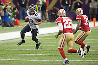 3 February 2013: Tight end (88) Dennis Pitta of the Baltimore Ravens catches a pass and runs against the San Francisco 49ers during the first half of the Ravens 34-31 victory over the 49ers in Superbowl XLVII at the Mercedes-Benz Superdome in New Orleans, LA.