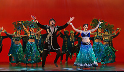 "© Licensed to London News Pictures. 08/05/2015. London, England. The show ""Beyond Bollywood"", written, directed and choreographed by Rajeev Goswami, with lyrics by Irfan Siddiqui and featuring an original score by Salim-Sulaiman opens at the London Palladium for 60 performances. With Ana Ilmi as Shaily, Mohit Mathur as Raghav, Sudeep Modak as Father/Ballu and Pooja Pant as Mother. Photo credit: Bettina Strenske/LNP"