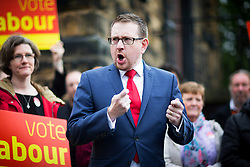 © Licensed to London News Pictures. 20/04/2017. Morley UK. Labour election co-ordinator Andrew Gwynne is in Morley, west Yorkshire today to kicks-tart the campaign to win back the seat in the General Election. Photo credit: Andrew McCaren/LNP