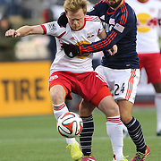 Lee Nguyen, New England Revolution, grabs Dax McCarty, New York Red Bulls, during the New England Revolution Vs New York Red Bulls, MLS Eastern Conference Final, second leg. Gillette Stadium, Foxborough, Massachusetts, USA. 29th November 2014. Photo Tim Clayton