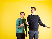 Pierre Paslier and Rodrigo Garcia Gonzalez (right) the co-founders of the company Ooho and Spinning Rocks Lab, who have invested a water capsule that dissolves in your mouth and is an alternative to plastic water bottles.