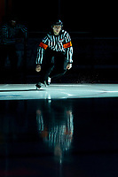 KELOWNA, BC - JANUARY 3:  Referee Mark Pearce enters the ice at the Kelowna Rockets against the Victoria Royals at Prospera Place on January 3, 2020 in Kelowna, Canada. (Photo by Marissa Baecker/Shoot the Breeze)