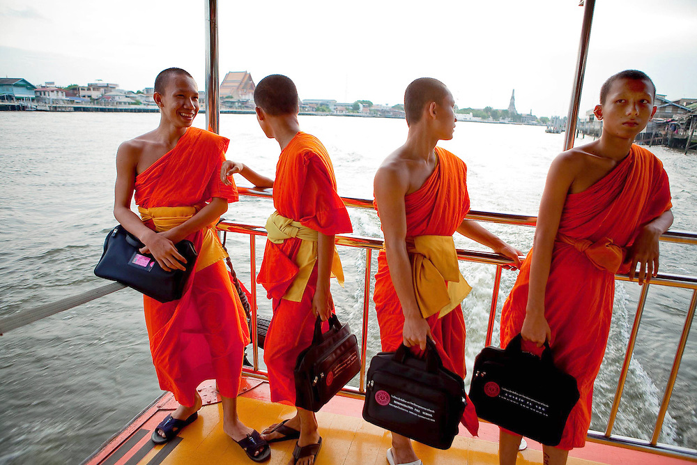 Monks on taxi boat, Bangkok, Thailand