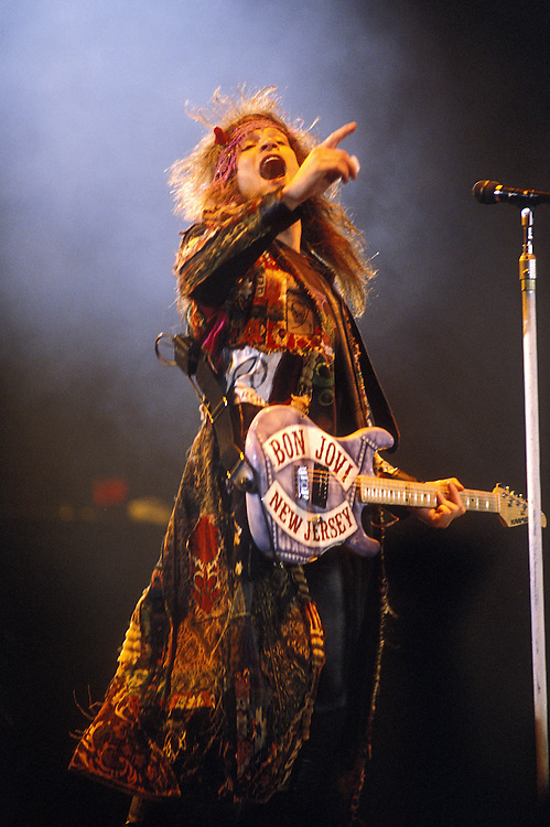 USA, Alaska, Anchorage, Jon Bon Jovi performs during rock concert