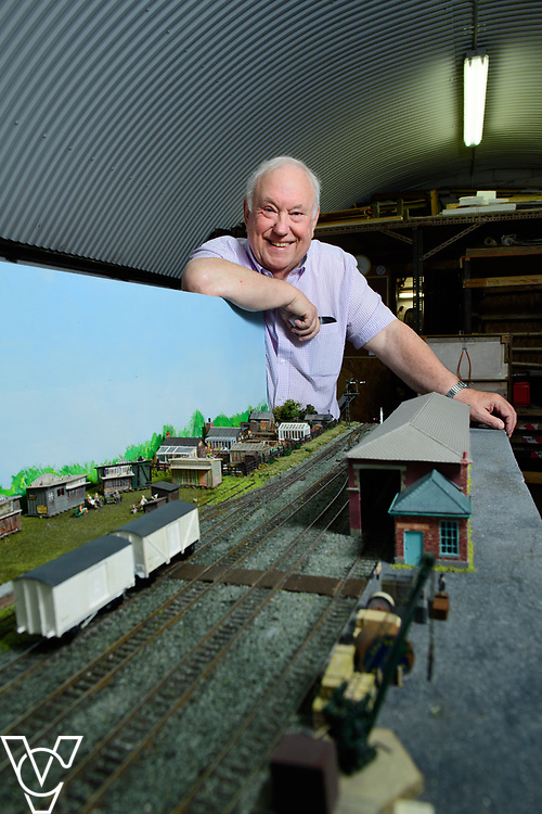 INSIGHT MAGAZINE: Bridlington Model Railway Society are based in Station Road, Bridlington, in a railway arch unit owned by Network Rail.  Pictured is Bridlington Model Railway Society chairman Harold Bellhouse with the model of Filey station.<br /> <br /> Picture: Chris Vaughan Photography<br /> Date: May 31, 2017