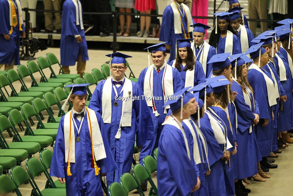 Saltillo High School seniors take their seats to get the gradution ceremony underway.