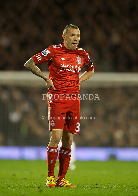 LONDON, ENGLAND - Monday, December 5, 2011: Liverpool's Craig Bellamy looks dejected as his side lose 1-0 to Fulham during the Premiership match at Craven Cottage. (Pic by David Rawcliffe/Propaganda)