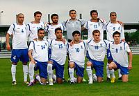 Fotball<br /> Moldova v Aserbajan<br /> 26.05.2010<br /> Seekirchen Østerrike<br /> Foto: Gepa/Digitalsport<br /> NORWAY ONLY<br /> <br /> FIFA Weltmeisterschaft 2010 in Suedafrika, Vorberichte, Vorbereitung, Vorbereitungsspiel, Freundschaftsspiel, Laenderspiel, Moldawien vs Aserbaidschan. <br /> <br /> Bild zeigt die Mannschaft von Aserbaidschan mit Mahik Shukurov, Volodimir Levin, Rashad Sadigov, Kamran Aghayev, Rauf Aliyev, Elivur Allahverdiyev (hinten von links); Farid Guliyev, Ruslan Abishov, Elvin Mammadov, Maksim Medvedev, Aleksandr Chertoganov (vorne von links).<br /> Lagbilde Aserbajan