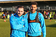 FGR's new signings Forest Green Rovers Jake Gosling(31) and Forest Green Rovers Kaiyne Woolery(14), during the Vanarama National League match between Forest Green Rovers and Braintree Town at the New Lawn, Forest Green, United Kingdom on 21 January 2017. Photo by Shane Healey.