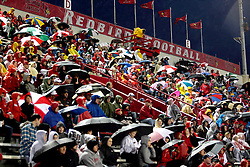 25 September 2010:  Though sparse in places, fans filled the stands despite a rainy chilly night.  The Missouri State Bears lost to the Illinois State Redbirds 44-41 in double overtime, meeting at Hancock Stadium on the campus of Illinois State University in Normal Illinois.