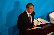 Wang Yi, China's foreign minister, speaking at  the United Nations Climate Action Summit in New York, U.S., on  Sept. 23, 2019.