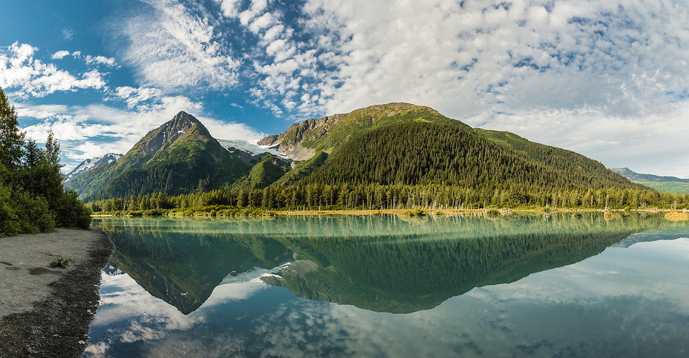 Panorama of Explorer Glacier and Pond in Chugach National Forest in Portage Valley in Southcentral Alaska. Summer. Morning.
