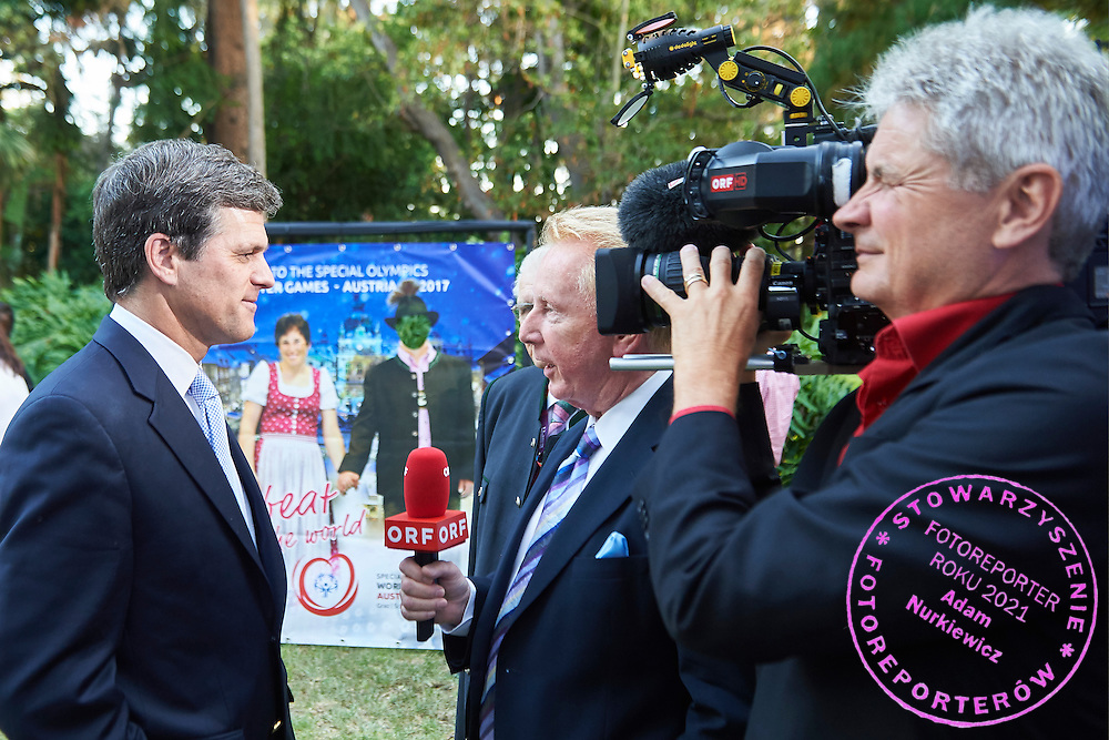 (L) Timothy Shriver speaks while TV interview Austria 2017 Reception during third day of the Special Olympics World Games Los Angeles 2015 on July 27, 2015 in Los Angeles, USA.<br /> <br /> USA, Los Angeles, July 27, 2015<br /> <br /> Picture also available in RAW (NEF) or TIFF format on special request.<br /> <br /> For editorial use only. Any commercial or promotional use requires permission.<br /> <br /> Adam Nurkiewicz declares that he has no rights to the image of people at the photographs of his authorship.<br /> <br /> Mandatory credit:<br /> Photo by &copy; Adam Nurkiewicz / Mediasport