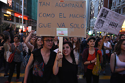 April 26, 2018 - Madrid, Madrid, Spain - Women hold banners as they take part in a protest in Madrid. Women's rights groups protested after a court in Pamplona, northern Spain, sentenced five men, who called themselves 'la manada' (the wolf pack), to nine years each in prison for the lesser crime of sexual abuse, instead of rape, to a 18-year-old woman during the San Fermin Festival on 2016. (Credit Image: © Jorge Sanz/Pacific Press via ZUMA Wire)
