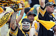 Pittsburgh Steelers fans wave terrible towels after a score during the 2016 NFL week 2 regular season football game against the Cincinnati Bengals on Sunday, Sept. 18, 2016 in Pittsburgh. The Steelers won the game 24-16. (©Paul Anthony Spinelli)