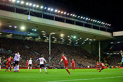 LIVERPOOL, ENGLAND - Thursday, March 10, 2016: Liverpool's Philippe Coutinho Correia takes a free-kick against Manchester United during the UEFA Europa League Round of 16 1st Leg match at Anfield. (Pic by David Rawcliffe/Propaganda)