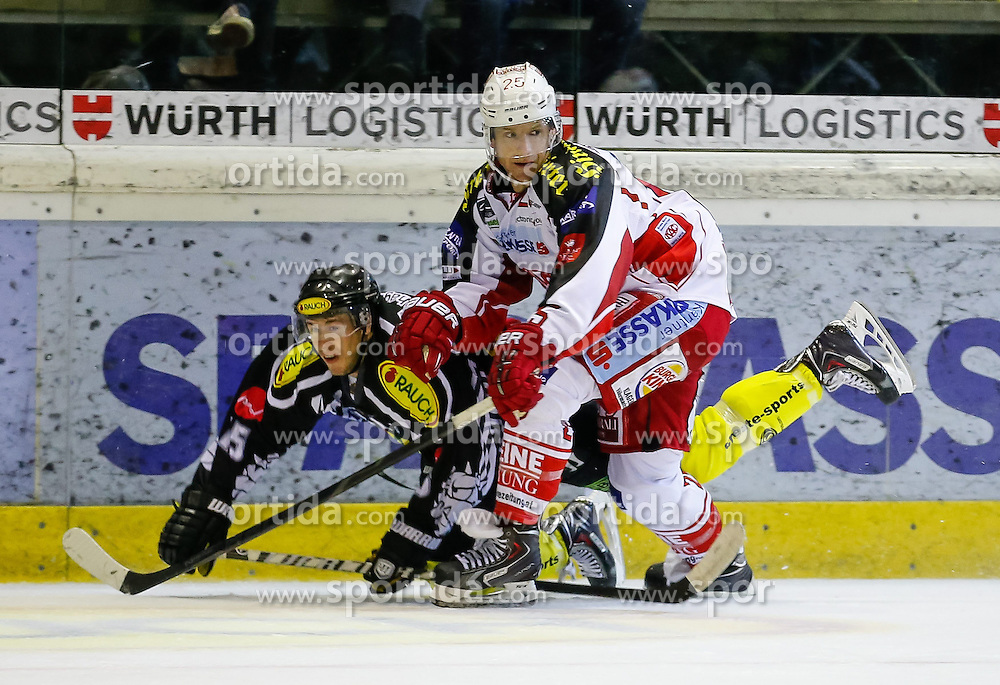 29.09.2013, Messestadion, Dornbirn, AUT, EBEL, Dornbirner EC vs EC KAC, 13. Runde, im Bild Chris D'Alvise, (Dornbirner EC, #15) und Kirk Furey, (EC KAC, #25)// during the Erste Bank Icehockey League 13th round match between Dornbirner EC and EC KAC the Exhibition Stadium, Dornbirn, Austria on 2013/09/29, EXPA Pictures © 2013, PhotoCredit: EXPA/ Peter Rinderer