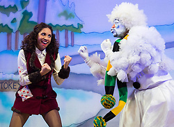 "Hackney Empire Theatre, London, November 25th 2015.  Hackney Empire presents Jack and the Beanstalk as their 2015 Christmas pantomime. London's most famous panto will star Hackney Empire's own Olivier nominated dame Clive Rowe as Dame Daisy Trott, Olivier Award-nominated Bodyguard actress Debbie Kurup as Jack and Hackney Panto favourite Kat B as Snowman. Written and directed by Creative Director Susie McKenna, with music by Steven Edis. PICTURED: Kat B - ""Snowman"" and Debbie Kurup - ""Jack""."