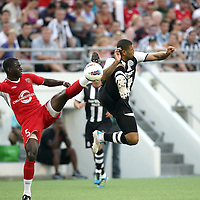 Orlando City Lions Defenseman Kieron Bernard (5) and Newcastle United Forward Leon Best (20) during an International Friendly soccer match between English Premier League team Newcastle United and the Orlando City Lions of the United Soccer League, at the Florida Citrus Bowl on Saturday, July 23, 2011 in Orlando, Florida. Orlando won the match 1-0. (AP Photo/Alex Menendez)