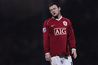 Photo: Olly Greenwood.<br />Southend United v Manchester United. Carling Cup. 07/11/2006. Manchester United's Wayne Rooney looks dected