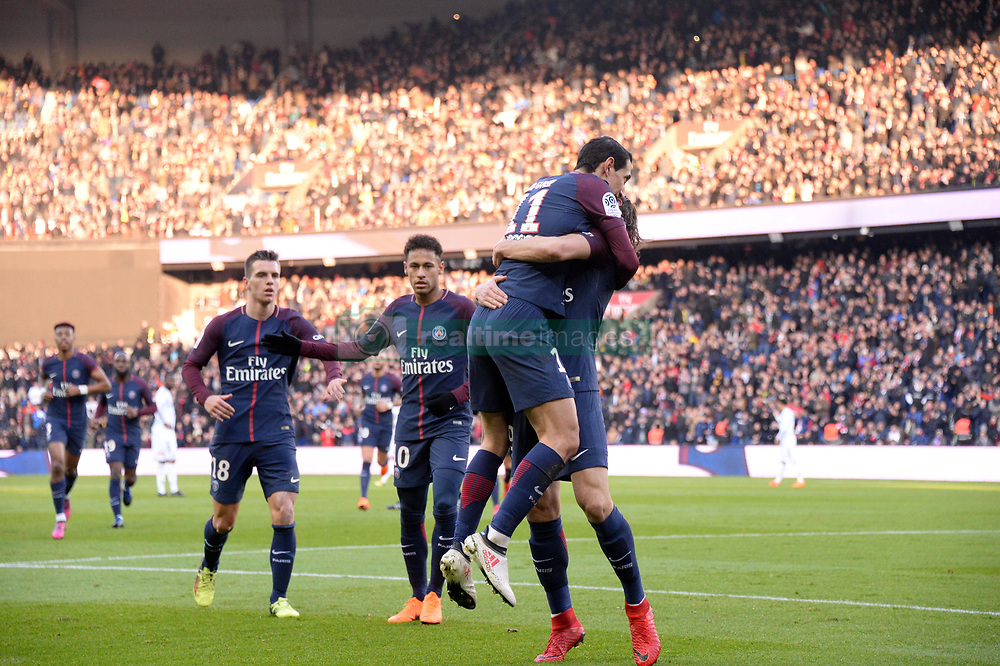 February 17, 2018 - Paris, France - 11 ANGEL DI MARIA (psg) - 10 NEYMAR JR (psg) - 18 Giovani LO CELSO (psg) - JOIE (Credit Image: © Panoramic via ZUMA Press)