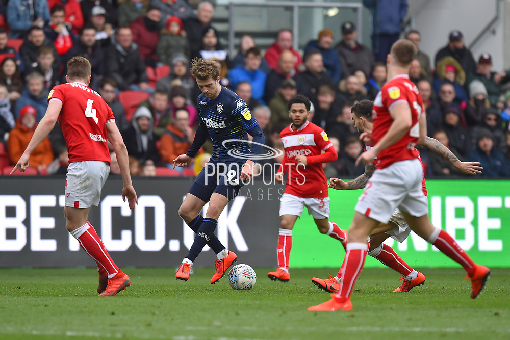 Patrick Bamford (9) of Leeds United looks for a way through the City defence during the EFL Sky Bet Championship match between Bristol City and Leeds United at Ashton Gate, Bristol, England on 9 March 2019.