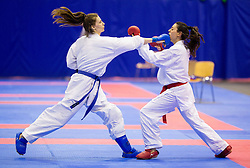 Alessia Coppola Neri of Italy (red) fighting against Masa Martinovc of Croatia (blue) during final of Kumite Individual female Seniors +68 kg at Day One of Karate 1 World Cup - Thermana Slovenia Lasko 2014 tournament, on March 15, 2014 in Arena Tri Lilije, Lasko, Slovenia.Photo by Vid Ponikvar / Sportida