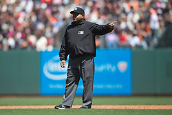 SAN FRANCISCO, CA - MAY 02:  MLB umpire Adrian Johnson #80 stands on the field during the fifth inning between the San Francisco Giants and the Los Angeles Angels of Anaheim at AT&T Park on May 2, 2015 in San Francisco, California.  The San Francisco Giants defeated the Los Angeles Angels of Anaheim 5-4. (Photo by Jason O. Watson/Getty Images) *** Local Caption *** Adrian Johnson