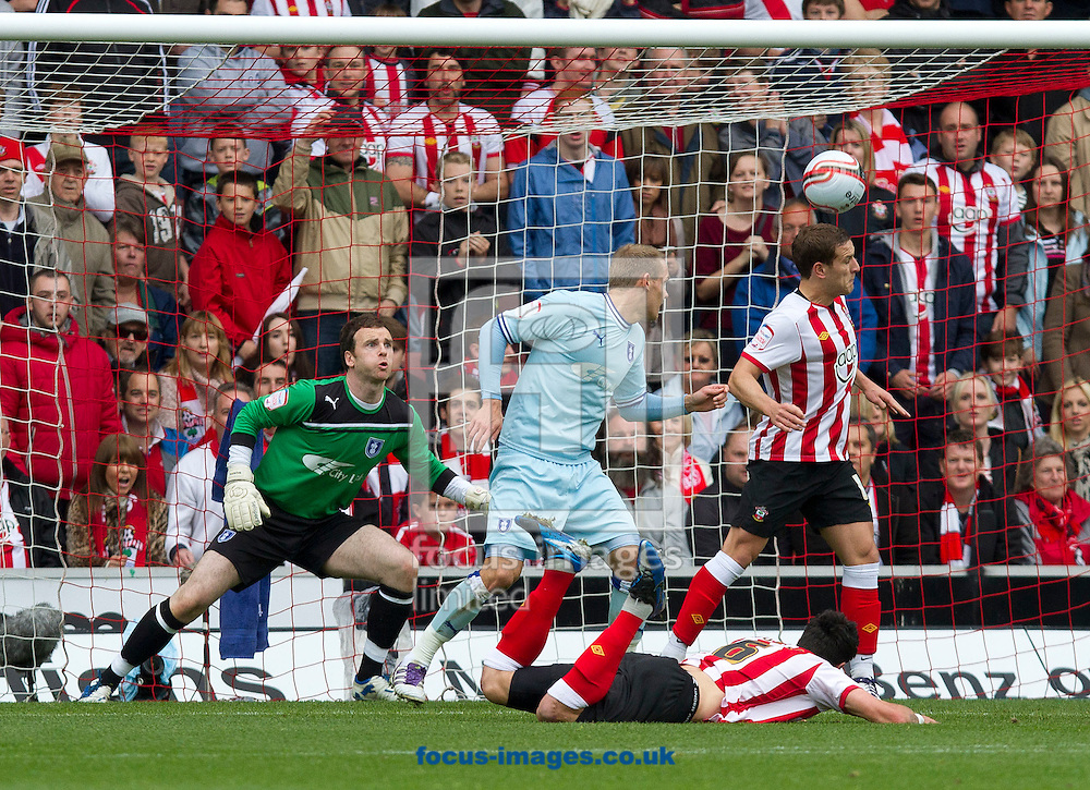 Picture by Daniel Chesterton/Focus Images Ltd. 07966 018899.28/04/12.Jose Fonte of Southampton scores his side's second goal during the Npower Championship match at St Mary's stadium, Southampton.