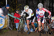 Belgium, Sunday 13th December 2015: World Champion Mathieu van der Poel (on left) reaches the top of a short but steep and muddy climb during the first lap of the elite men's  Hansgrohe Superprestige cyclocross races at Spa Francorchamps.<br />
