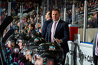 KELOWNA, BC - SEPTEMBER 21:  Kelowna Rockets' head coach Adam Foote stands on the bench against the Spokane Chiefs at Prospera Place on September 21, 2019 in Kelowna, Canada. (Photo by Marissa Baecker/Shoot the Breeze)