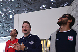 February 23, 2019 - Abu Dhabi, United Arab Emirates - (Left-Right) Vincenzo Nibali of Italy, Elia Viviani of Italy and Team Deceuninck-QuickStep, and Fernando Gaviria of Colombia and UAE Team Emirates, inside the Louvre Abu Dhabi Museum..On Saturday, February 23, 2019, Abu Dhabi, United Arab Emirates. (Credit Image: © Artur Widak/NurPhoto via ZUMA Press)