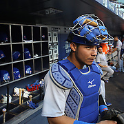 NEW YORK, NEW YORK - June 30: Catcher Willson Contreras #40 of the Chicago Cubs heads out of the dugout to catch during the Chicago Cubs Vs New York Mets regular season MLB game at Citi Field on June 30, 2016 in New York City. (Photo by Tim Clayton/Corbis via Getty Images)