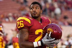 September 11, 2010; Los Angeles, CA, USA;  Southern California Trojans running back Marc Tyler (26) warms up before the game against the Virginia Cavaliers at the Los Angeles Memorial Coliseum.