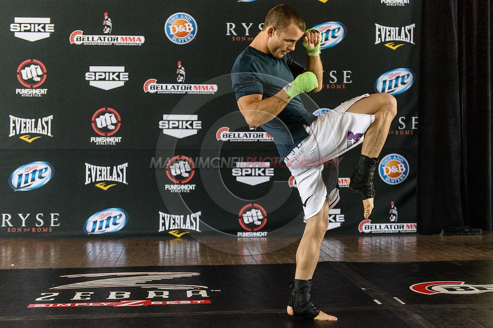 LONG BEACH, CALIFORNIA, OCTOBER 31, 2013: Pat Curran works out on the mats ahead inside the Long Beach Convention Center & Arena, California, ahead of their fight at Bellator CVI (© Martin McNeil)