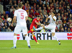 Gareth Bale of Wales (Real Madrid) see's his shot well saved - Photo mandatory by-line: Joe Meredith/JMP - Tel: Mobile: 07966 386802 10/09/2013 - SPORT - FOOTBALL - Cardiff City Stadium - Cardiff -  Wales V Serbia- World Cup Qualifier
