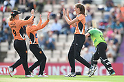 Lauren Bell,Thea Brooks and Danielle Wyatt of Southern Vipers celebrate the wicket of Rachel Priest during the Women's Cricket Super League match between Southern Vipers and Western Storm at the Ageas Bowl, Southampton, United Kingdom on 11 August 2019.