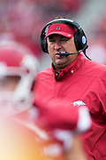 FAYETTEVILLE, AR - OCTOBER 31:  Head Coach Bret Bielema of the Arkansas Razorbacks on the sidelines during a game against the UT Martin Skyhawks at Razorback Stadium on October 31, 2015 in Fayetteville, Arkansas.  The Razorbacks defeated the Skyhawks 63-28.  (Photo by Wesley Hitt/Getty Images) *** Local Caption *** Bret Bielema