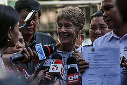 April 17, 2018 - Manila, Philippines - Australian nun Sister Patricia Fox gestures as she is interviewed by the media after being released from custody at the Bureau of Immigration in Manila, Philippines on Tuesday. April 17, 2018. Fox was detained for engaging in political activities and anti-government demonstrations. She was later released for further investigation after establishing valid missionary documents. (Credit Image: © Basilio H. Sepe via ZUMA Wire)