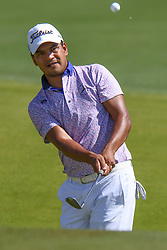 May 2, 2019 - Charlotte, NC, U.S. - CHARLOTTE, NC - MAY 02: Fabian Gomez chips up to the green during the first round of the Wells Fargo Championship at Quail Hollow on May 2, 2019 in Charlotte, NC. (Photo by William Howard/Icon Sportswire) (Credit Image: © William Howard/Icon SMI via ZUMA Press)