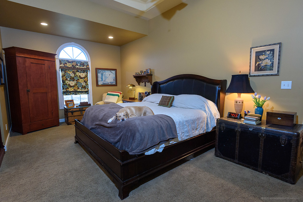 Cooper the Wonder Dog, 9, rests in the master bedroom at the home of Kristen and David Embry in Pendleton, Ky. Feb. 22, 2018