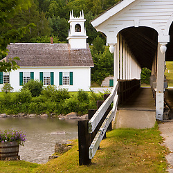 The Stark Union Church and the Stark Covered Bridge in Stark, New Hampshire.  Upper Ammonoosuc River.
