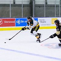 4th year defence man Austin Bourhis (8) of the Regina Cougars in action during the Men's Hockey Home Opener on October 21 at Co-operators arena. Credit: Arthur Ward/Arthur Images