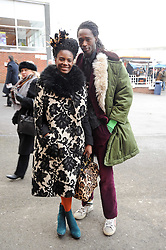 Singer SHINGAI SHONIWA from rock band Noisettes and MOUSSA SANUGO at the Hennessy Gold Cup 2010 at Newbury Racecourse, Berkshire on 27th November 2010.