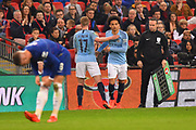 Substitution - Leroy Sane (19) of Manchester City replaces Kevin De Bruyne (17) of Manchester City during the Carabao Cup Final match between Chelsea and Manchester City at Wembley Stadium, London, England on 24 February 2019.