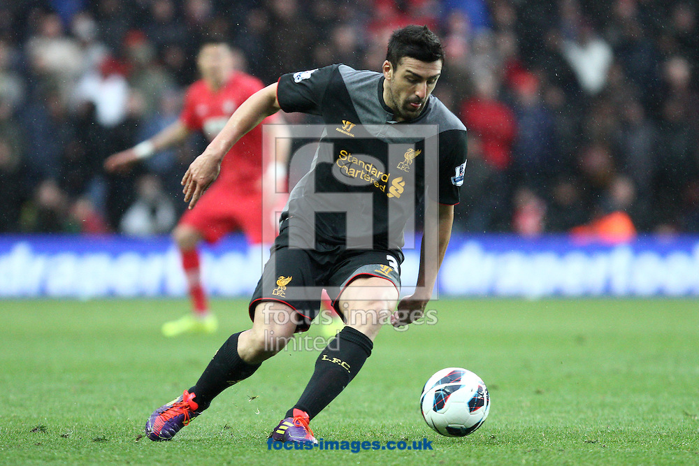 Picture by Daniel Chesterton/Focus Images Ltd +44 7966 018899.16/03/2013.Jose Enrique of Liverpool in action during the Barclays Premier League match at the St Mary's Stadium, Southampton.