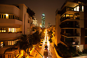 Nighttime photography of downtown Tel Aviv, Israel